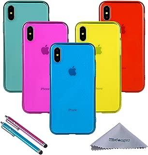 iPhone XS ケース iPhone X ケース Wisdompro ソフトTPU クリアケース 【ワイヤレス充電対応】 [耐衝撃・薄型・軽量] ストラップホール付き アイフォンX/XS カバー 【5枚組 5色】 (ブルー+アクアブルー+ローズ+イエロー+レッド)