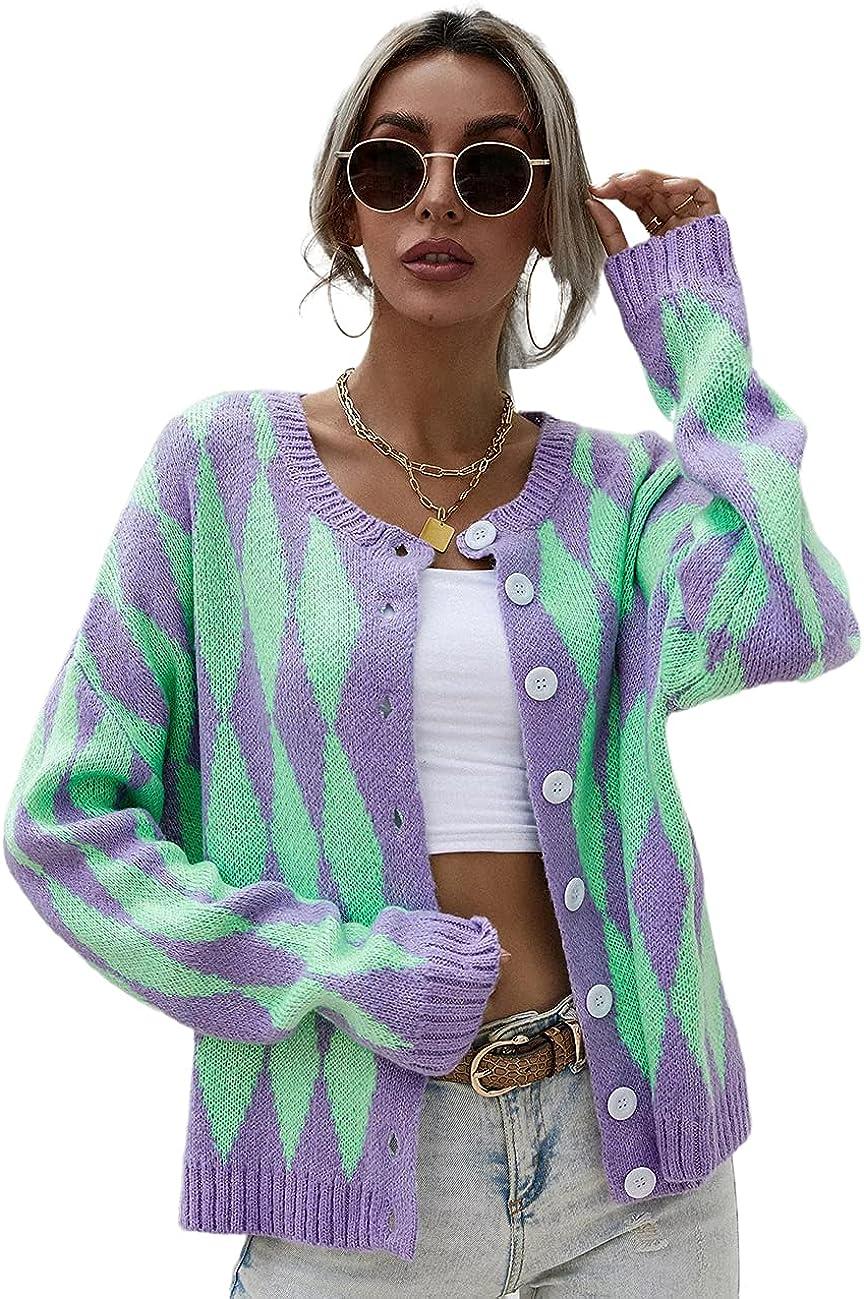 Pasgreson Women's Long Sleeve Knit Cardigan Sweaters Casual Zebra Print Color Block Open Front Button Down Outwear Coat