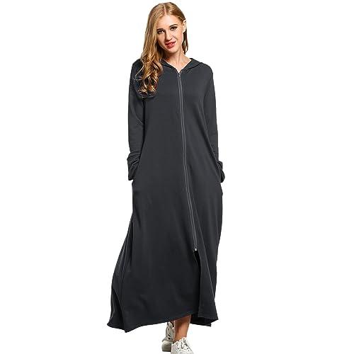 42b1372fd6840 SE MIU Women s Plus Size Long Zipper Ultra-Soft Cotton Hoodie Robe  Loungewear