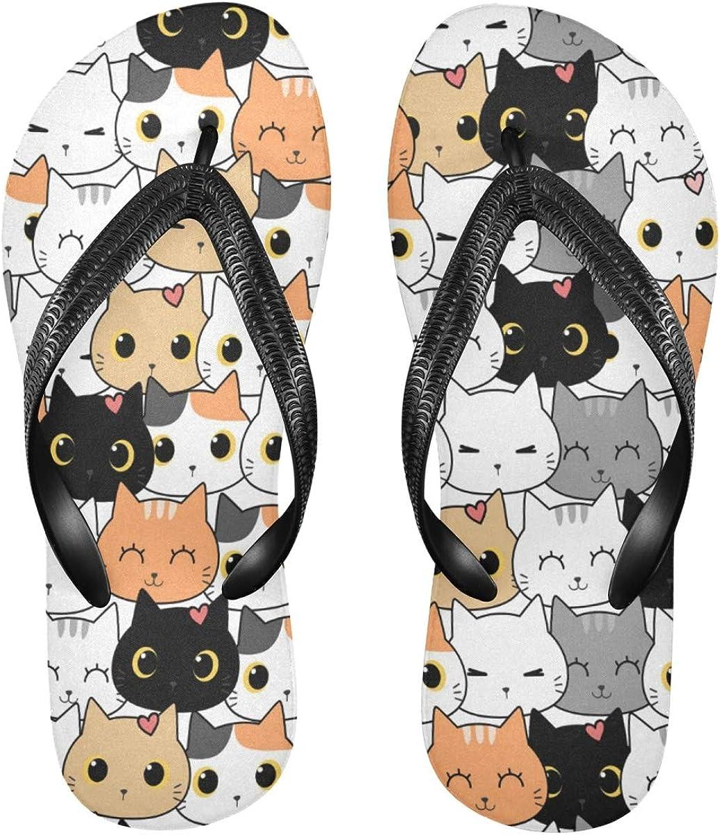 Women's Flip Flop Sandals for Teen Boys Men Girls - Cute Cat Kitten Cartoon Color Printing Waterproof Outdoor Summer Beach Slippers Beachwear S