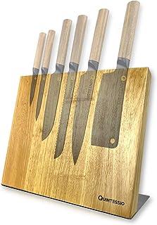 QUINTESSIO Bloc couteaux magnétique sans couteaux - Porte-couteaux magnétique en bois - Planche à couteaux XL avec aimants...