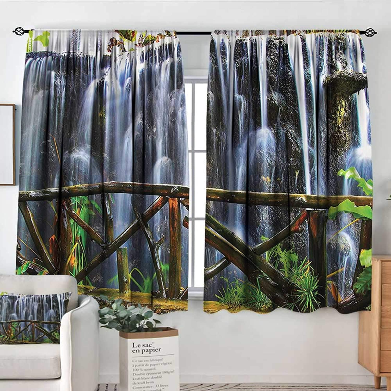 Familytaste Waterfall,Indo Panes Drapes Tropical Park Scenery 42 X54  Kids Backout Curtains for Bedroom