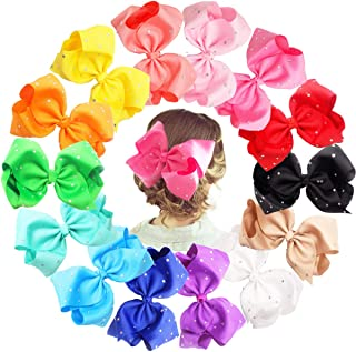 14pcs 8 inch Giant Glitter Sparkly Rhinestones Baby Girls Larger Big Grosgrain Ribbon Hair Bows Alligator Hair Clips for Gilrs Toddlers,Kids,Teens