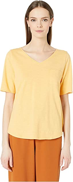 V-Neck Elbow Sleeve Top