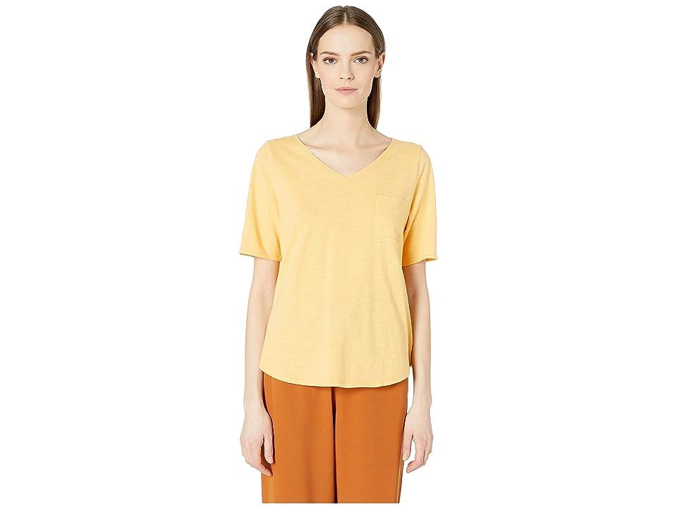 Eileen Fisher V-Neck Elbow Sleeve Top (Cantaloupe) Women