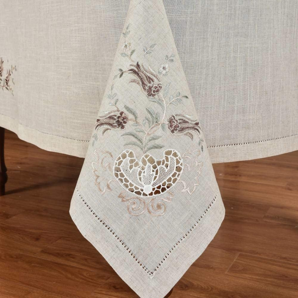 Elegant Hemstitch Tulip Tablecloth Treated Specially L Miami Mall Cheap bargain Polyester