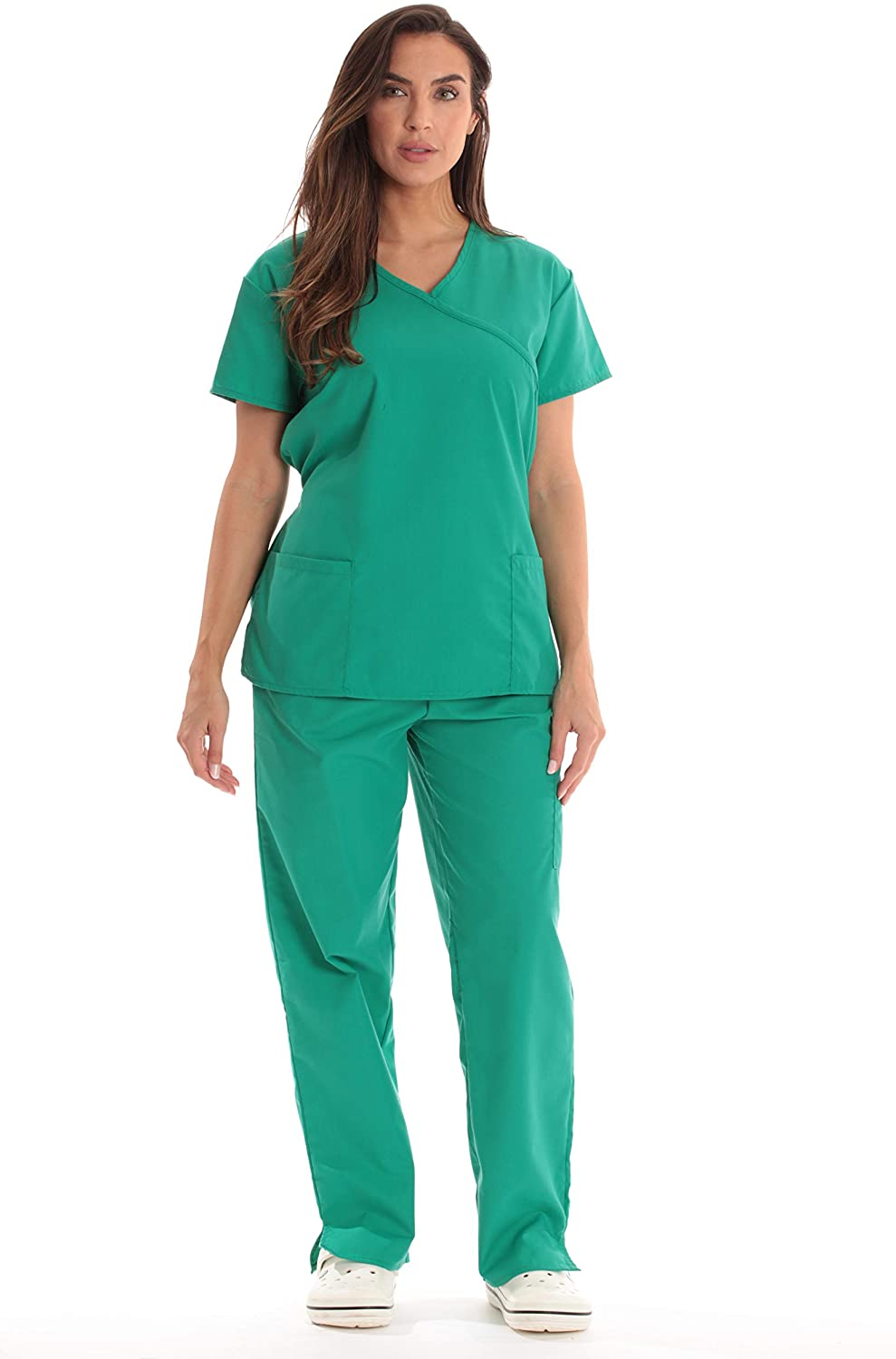 Just Store Fashionable Love Women's Scrub Sets Back Tie Medical Scrubs