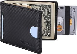 Money Clip RFID Blocking Carbon Leather Wallet for Men, Minimalist Slim Bifold Wallet (Black- Carbon Fiber)