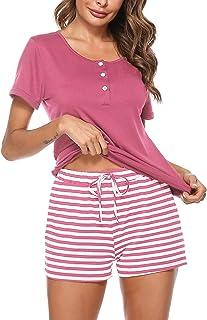 Ensemble pyjama femme d/'été pyjama short coton gris et rose taille M NEUF