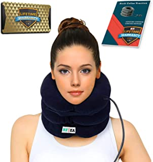 Cervical Neck Traction | Air Neck Therapy | Adjustable Neck Stretcher Collar Device | Cervical Collar for Neck Support and Decompression - Neck Pain Relief (Blue)
