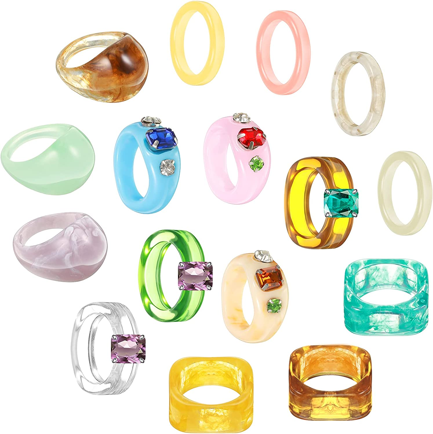16 Pieces Resin Rings Acrylic Cute Trendy Rhinestone Rings Colorful Index Finger Ring Jewelry Plastic Resin Square Gem Stackable Chunky Ring for Women Girls