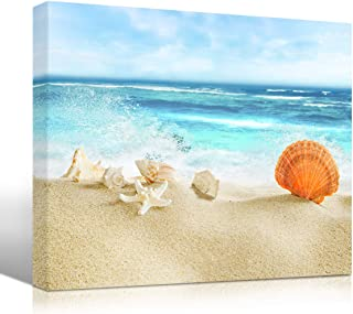 Mon-Seashell and Starfish at Beach Canvas Print Sea Wave Spray Wall Art for Bathroom Living Room Bedroom Seascape Picture Landscape Artwork Modern Tropical Decoration Home Decor 12
