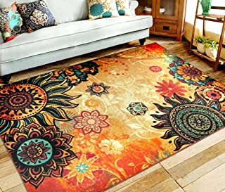 EUCH Contemporary Boho Retro Style Abstract Living Room Floor Carpets,Non-Skid Indoor/ Outdoor Large Area Rugs,75