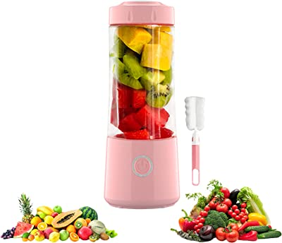 Portable Blender, Handheld USB Rechargeable Multifunctional Fruit Juicer Machine Mixer Bottle, Personal Blender with Six Blades, Household Squeezer Kitchen Tool (Pink)