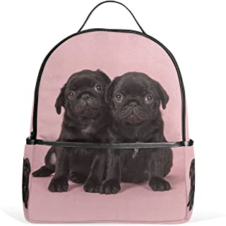 Mydaily Black Pug Puppies Backpack for Boys Girls School Bookbag