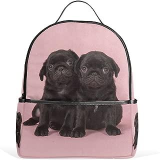 Mydaily Black Pug Puppies Backpack for Boys Girls School Bookbag