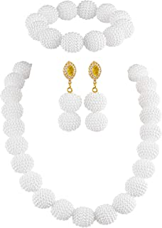 Nigerian Wedding African Beads Jewelry Set Women Simulated Pearl Necklace and Earrings