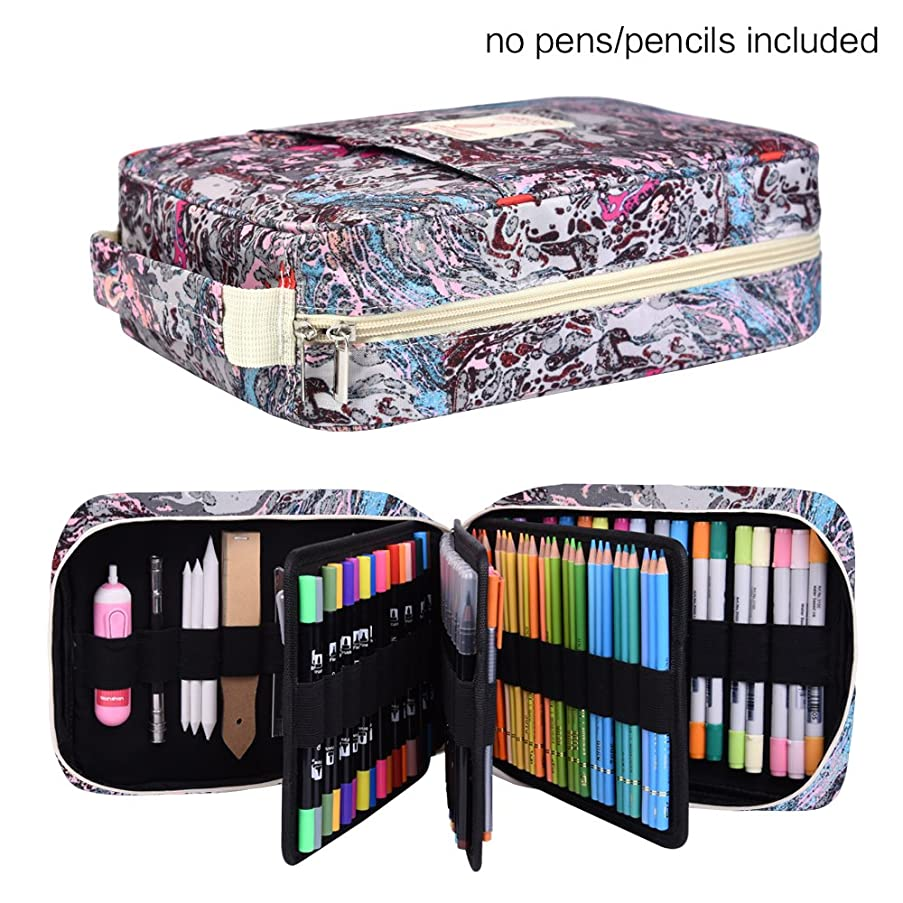 202 Colored Pencils Pencil Case / 136 Color Gel pens Pen Bag/Marker Organizer - Universal Artist use Supply Zippered Large Capacity Slot Super Big Professional Storage qianshan Fresh
