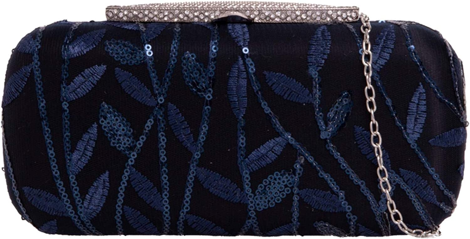 Girly Handbags Womens Embroidered Leaves Compact Clutch Bag