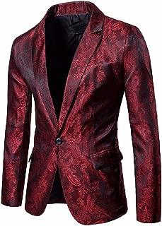 Charm Men's Casual One Button Fit Suit Blazer Coat Jacket Tops