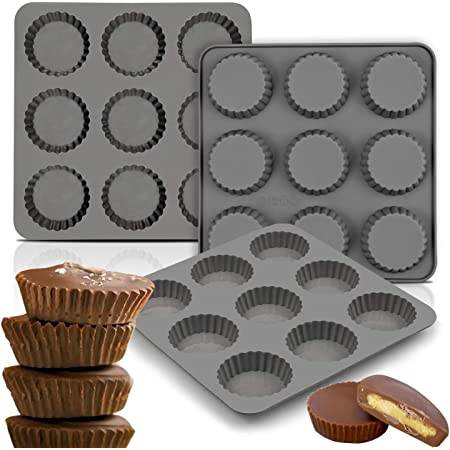 Palksky (3PCS) 9 Cup Bite Size Chocolate Almond Peanut Butter Cup Mold/Fat Bombs Snack Baking Pan/Mini Silicone Cookie Candy Mold for Brownie, Jello, truffle
