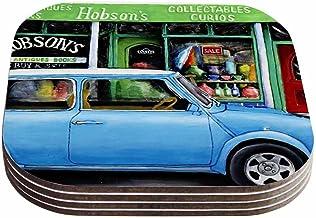 """قواعد أكواب بتصميم فيني طومسون """"بلو ميني"""" باللونين الأزرق والأسود (مجموعة من 4 قطع) من كيس إنهاوس، 10.16 سم × 10.16 سم، مت..."""