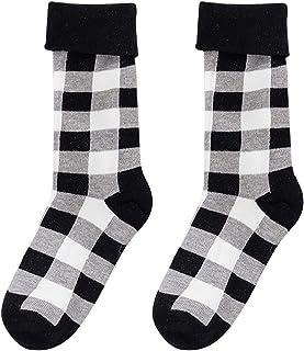 Xinapy, 1 par de Calcetines a Cuadros Blancos Y Negros Unisex Calcetines Personalizados para Padres E Hijos Calcetines de Algodón Peinado Suave para Adultos