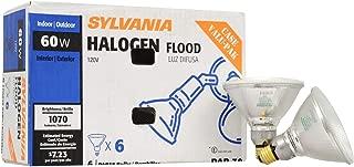 SYLVANIA Capsylite Short Neck Halogen Bulb Dimmable / PAR38 Reflector Narrow Flood Light / Replacement for halogen lamps 75W / Medium base E26 / 60 Watt / 2900K – warm white, 6 Pack