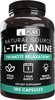 100% Pure L-Theanine, 365 Capsules, 1-Year Supply, No Magnesium or Rice Filler, 355mg per Serving, Made in ...