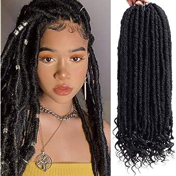 6Packs Faux Locs Crochet Hair 18inch Goddess Locs Crochet Braids Prelooped Black Synthetic Hair Extensions Dreadlocks Braiding Hair Soft Long (1B)