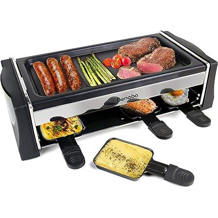 HengBo Machine Raclette pour 8 Personnes, Appareile a Raclette avec Plaque de Cuisson Antiadhésive, Température réglable, 8 Casseroles, 4 Spatules en bois, 1300W, Noir