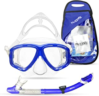 PRODIVE Premium Dry Top Snorkel Set - Impact Resistant Tempered Glass Diving Mask,Watertight and Anti-Fog Lens for Best Vi...
