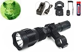 TUOFENG Portable Flashlights Green Light 250 yards Long Distance Lighting Coyote Hog Night Hunting Light Flashlight Remote Pressure Switch,Barrel Mount,scope mount,18650 Rechargeable battery Charger