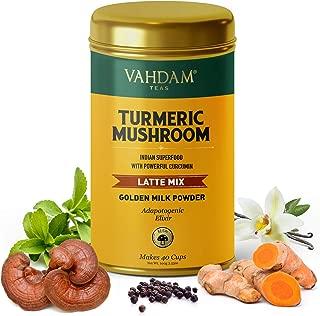 VAHDAM, TURMERIC + REISHI Mushroom Elixir latte, 40 Cups (3.53 oz)   Golden Milk Powder with Powerful CURCUMIN   Turmeric Powder + Reishi Mushroom Powder   Turmeric Tea   Brew Hot or Iced