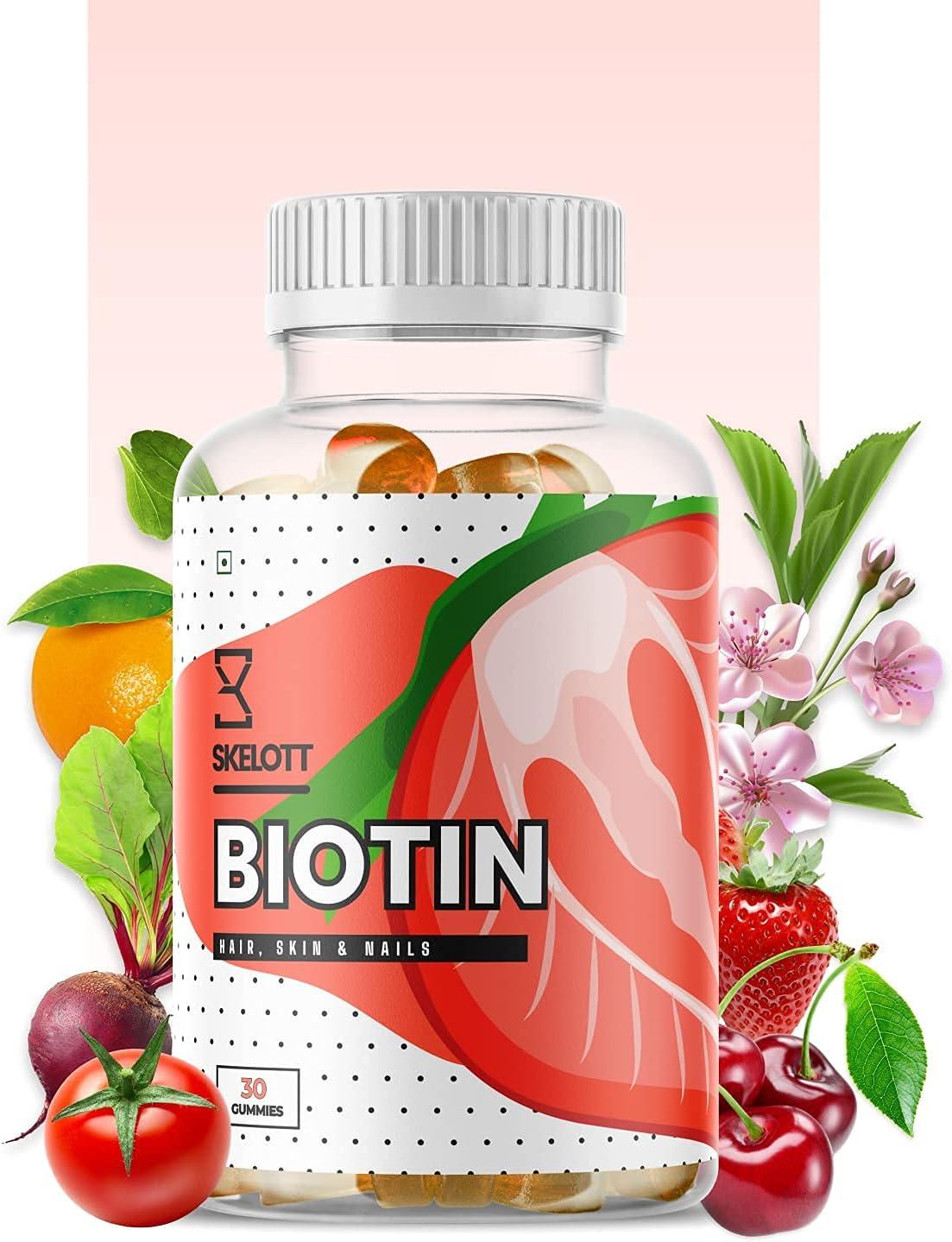 24 Karat lowest price Skelott Biotin Gummies Skin for Hair Growth Glowing New popularity