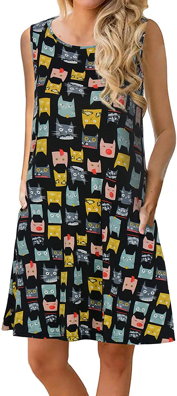Manydress Women's Summer Casual Sleeveless Dress Floral Printed Swing Dress T-Shirt Dress Sundress with Pockets MY028