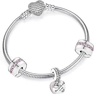 belinia prestige - Bracelet Femme - Bracelet Breloques Coeur, Bracelet de Style + Charm +Boite a Bijoux pour Bracelet
