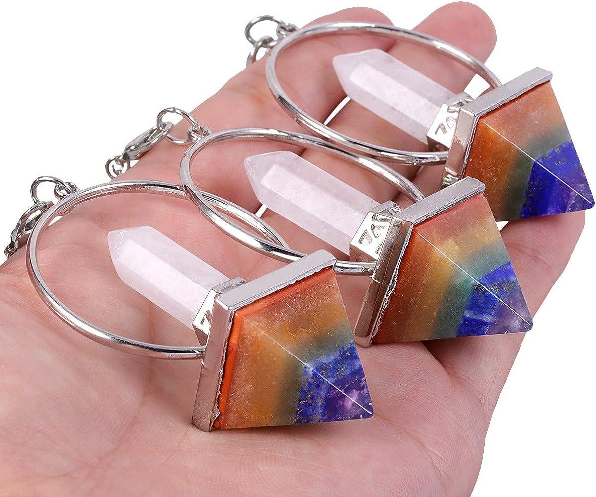 TUMBEELLUWA Healing Crystal Point 7 Chakra Pendulum Dowsing Reiki Quartz Stone Divination