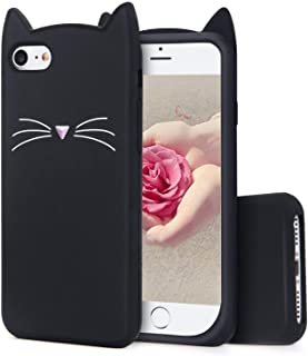 TopSZ Black Cat Case for iPod Touch 6th 5,Silicone 3D Cartoon Animal Cover,Kids Girls Teens Boys Animated Kitty Design Cool Cute Kawaii Soft Rubber Funny Unique Character Cases for iPod 5th Generation