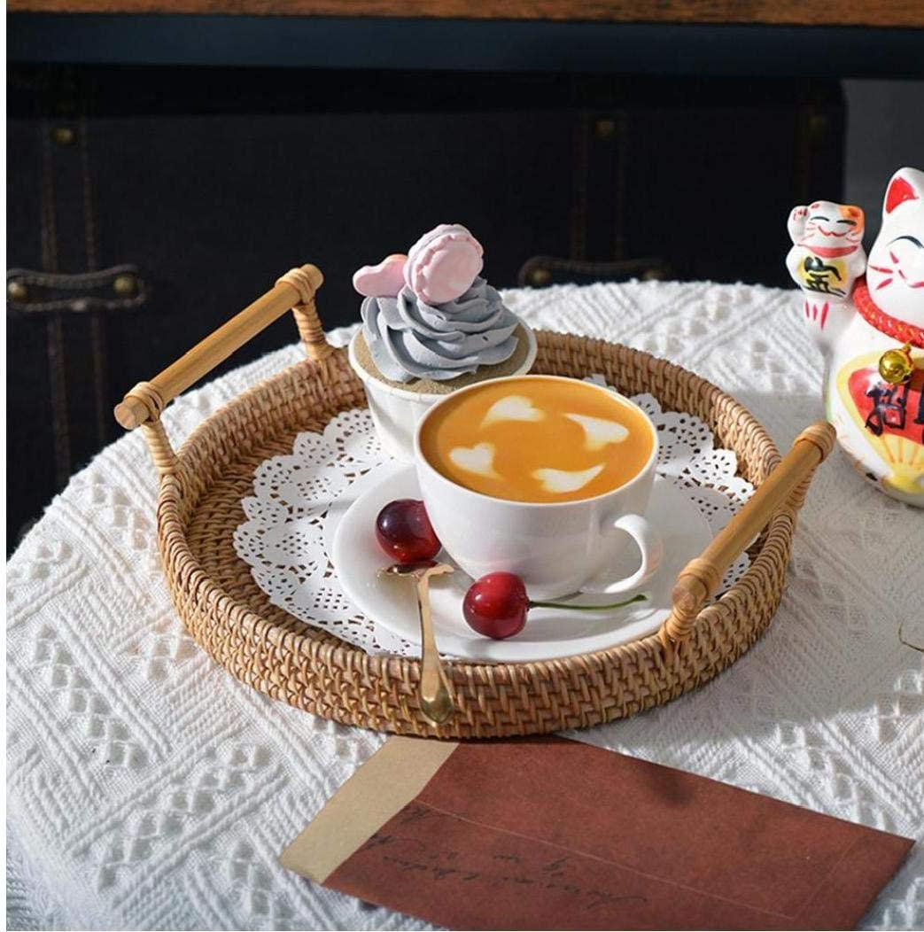 Berrywho Bandeja de t/é Bandeja de Almacenamiento Rattan Pan Cesta de Mimbre Redonda Tejida de Pan de Fruta Comida El Desayuno Display 22x7cm
