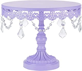 Amalfi Decor 10 Inch Cake Stand, Dessert Cupcake Pastry Candy Display Plate for Wedding Event Birthday Party, Round Metal Pedestal Holder with Crystals, Lavender Purple