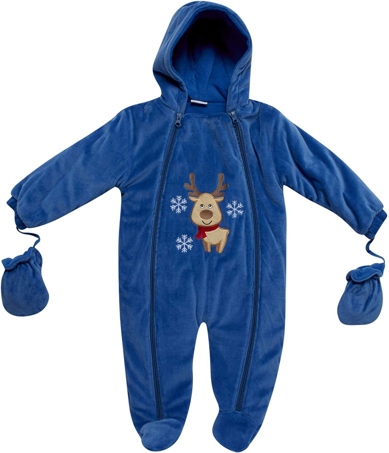 Sweet and Soft Boys Fleece Footed Pram Snowsuit with Mittens (Newborn/Infant)