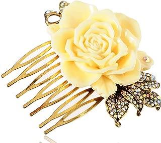 Vintage Inspired Tone Elegant Cream White Resin Enamel Rose Crystal Rhinestone Fashion Jewelry
