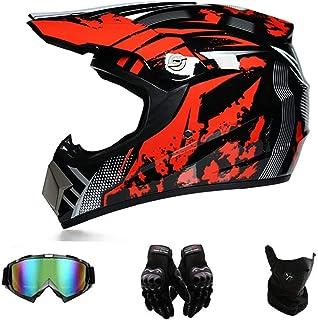 GAODA Motocross Motorradhelm Downhill Fullface Helm, BMX MTB Helm mit Handschuhen Brille, Unisex Motocross Helm für Erwachsene, DH Helm, MTB Helm, passend für alle Jahreszeiten. (XL)