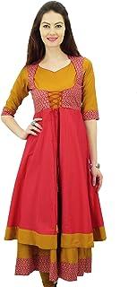Phagun Designer Double Layer Anarkali Kurti Dori Jacket Style Indian Dress