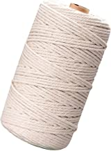 Cotton Macrame Cord, Tendak 3mm x 200m Handmade Natural Cotton, Cotton Macrame Rope, Cord DIY Craft for Making Wall Hangin...