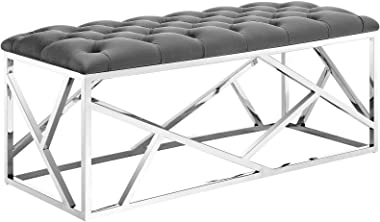 Modway Intersperse Button-Tufted Contemporary Modern Bench With Metallic Geometric Frame, Silver Gray