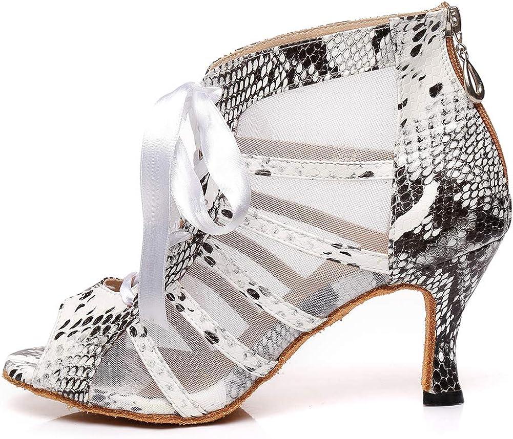 HROYL New Ballroom Dance Shoes Women Latin Dance Boots Women Tango Salsa Performance Weding Dance Shoes,Model YCL401