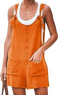 KLJR Women Sleeveless Overalls Pockets Wide Leg Linen Jumpsuits Romper