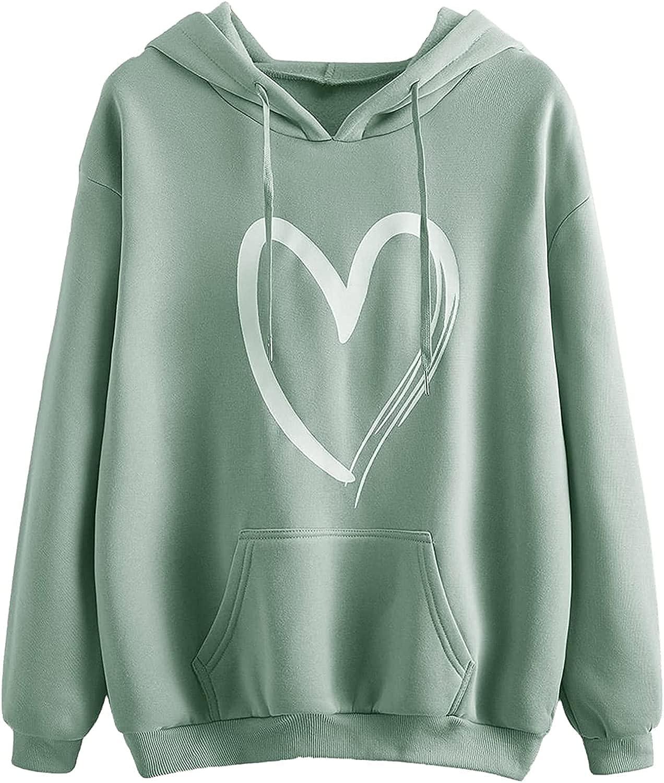 Hoodie Women's Casual Heart Print Long Sleeve Pullover Hoodie Sweatshirt Tops